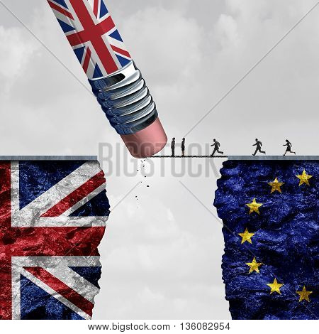Britain European Union change and independence decision as a brexit leave concept and UK leaving vote or Euro zone crisis as a pencil with the british flag erasing a link blocking entry as a 3D illustration.