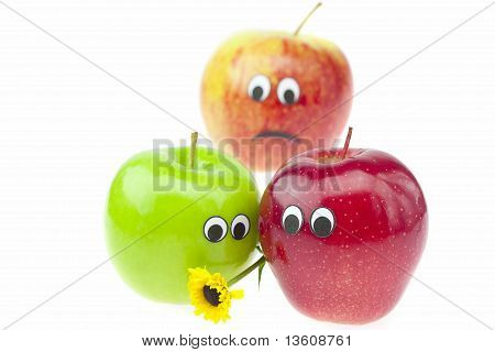 Joke Apple With Eyes Isolated On White
