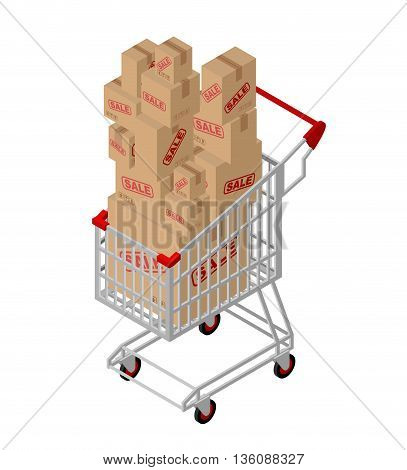 Shopping Cart And Box Sale Isometric. Shopping At Supermarket. Many Boxes. Large Number Of Purchases
