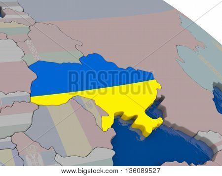 Ukraine With Flag