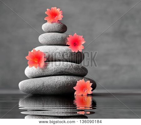 Spa stones stack with red flowers spa concept.