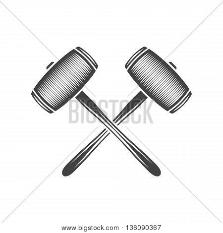 Two crossed sledge hammers. Black on white flat vector illustration logo element isolated on white background