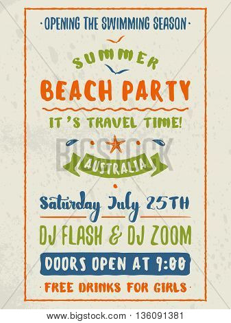 Beach Party Flyer Or Poster. Night Club Event. Summer Night Party
