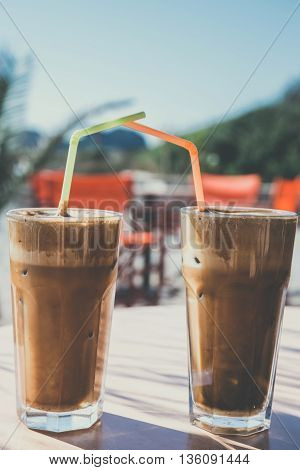 Coffee Frappe, Greek Cuisine On The Table At The Beach, Vintage Look