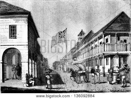 View of Kingston in Jamaica, vintage engraved illustration. Magasin Pittoresque 1836.