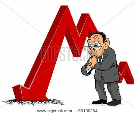 Vector illustration of bad luck in business