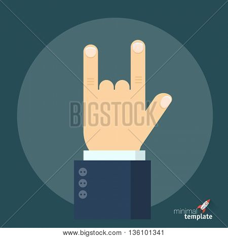 Flat design horns gesture icon sign. Metal rock symbol, flat icon for application interface, presentation and web design.  Punk and hard rock gesture logo icon, the sign of protest and evil.