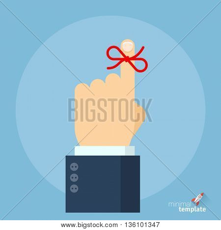 Flat design vector reminder icon. Vector mock up don't forget the ribbon on a finger. Finger with reminder ribbon flat icon for application interface, presentation and web design.