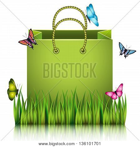 Green paper shopping bag on the meadow grass with butterflies. Vector illustration.
