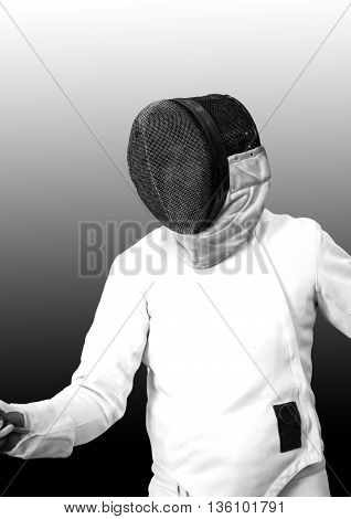 Fencer on gray background. Black and white image
