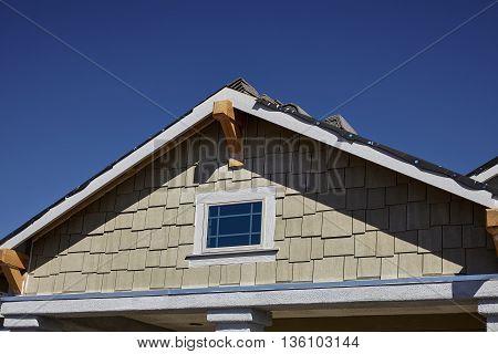 New Home Gable Shingles Roofing And Stucco