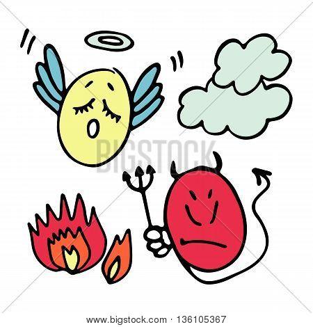 Set of pretty hand drawn angel and devil smiles-balls. Vector illustration.