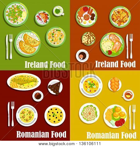 Traditional irish full breakfast and romanian mamaliga flat icons served with pancakes and corned beef salad, pigs fits and meatball soup, grilled fish and potato casserole, vegetable and meat stews, sweet bread, chocolate cake and merengue dessert