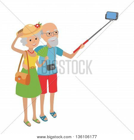 Vector illustration of elderly couple traveling isolated on white background in flat style. Elderly man and woman grandparents senior couple makes selfie.