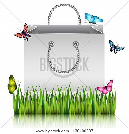 Gray paper shopping bag on the meadow grass with butterflies. Vector illustration.