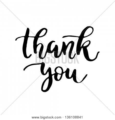 Thank you card. Hand drawn thanks lettering. Black ink thank you card for Thanksgiving day. Vector artistic black pen brush  lettering on black background.