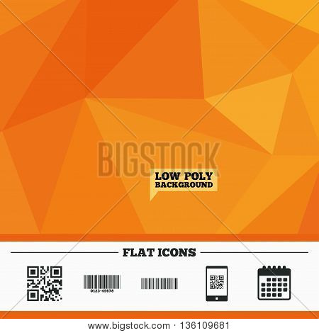 Triangular low poly orange background. Bar and Qr code icons. Scan barcode in smartphone symbols. Calendar flat icon. Vector