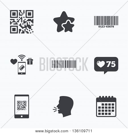 Bar and Qr code icons. Scan barcode in smartphone symbols. Flat talking head, calendar icons. Stars, like counter icons. Vector
