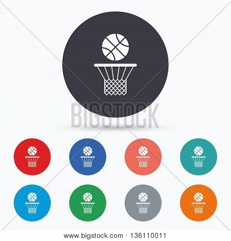 Basketball basket and ball icon. Sport symbol. Flat basketball icon. Simple design basketball symbol. Basketball graphic element. Circle buttons with basketball icon. Vector