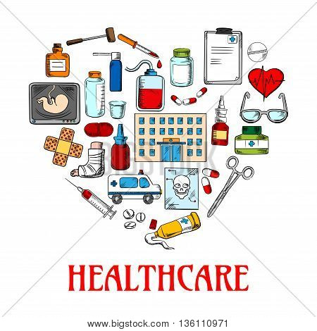 Colored sketch symbol of a heart made up of healthcare and medical icons such as medicine bottles and medical instruments, pills and syringes, blood bag and heart, hospital and ambulance, clipboard and glasses, ultrasound baby and skull structure