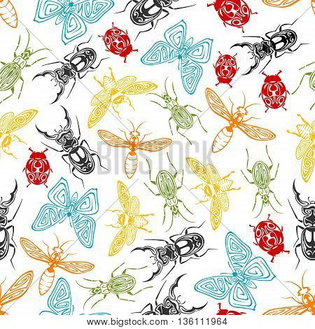 Tribal ornamental insects seamless background with colorful pattern of butterflies and bees, ladybugs and wasps, stag beetles and fireflies, adorned by swirling elements
