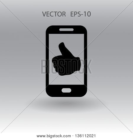 Flat icon of smartphone