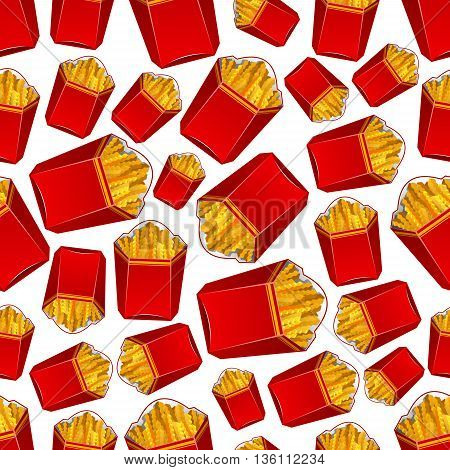 Seamless fast food potato vegetable snacks pattern of crispy wavy french fries in takeaway red paper boxes. Scrapbook page backdrop or food packaging design usage