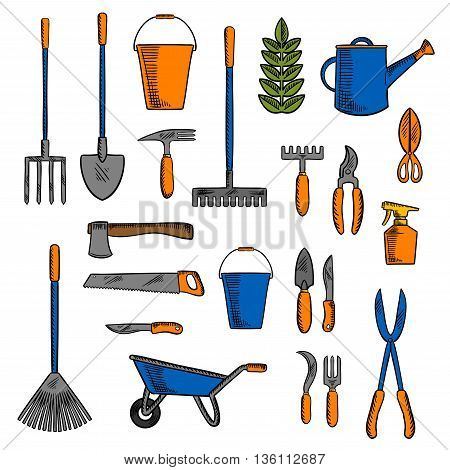 Gardening instruments for loosening the earth, pruning and watering plants sketch icons with shovel, rakes and spading fork, axe and saw, trowel and forks, pruning knives and shears, wheelbarrow and buckets, watering can and sprayer