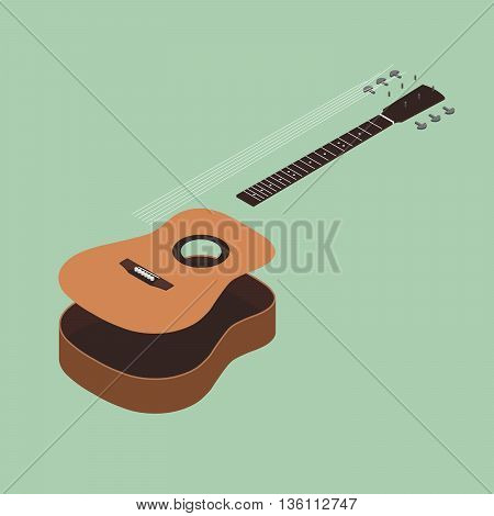 Acoustic guitar isometric flat design vector illustration