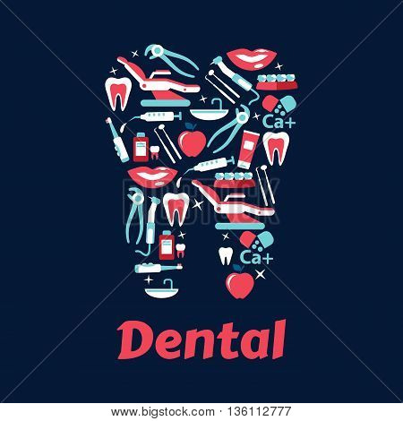 Dentistry flat icons in a shape of a tooth with dentist chairs and instruments, healthy teeth and braces, toothbrushes and toothpastes, mouthwashes and vitamins, apples and smiles