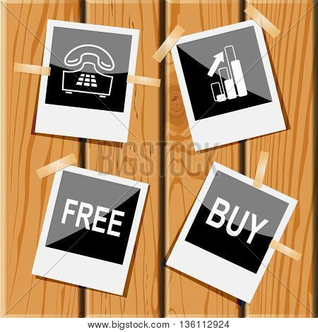 4 images: push-button telephone, diagram, free, buy. Business set. Photo frames on wooden desk. Vector icons.