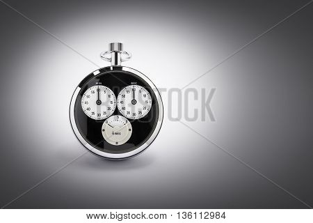 An old black and chrome chronometer perfectly working on a gradient background