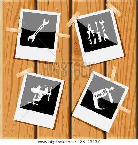 4 images: spanner, tools, clamp, electric drill. Industrial tools set. Photo frames on wooden desk. Vector icons.