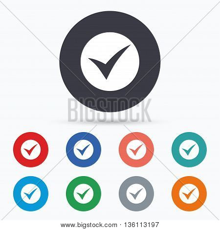 Check sign icon. Yes symbol. Flat check icon. Simple design check symbol. Check graphic element. Circle buttons with check icon. Vector