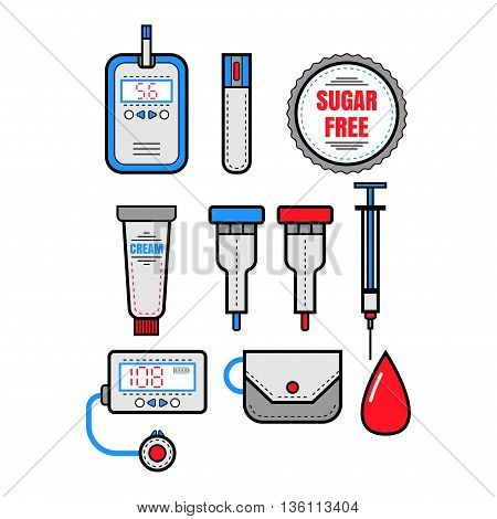Diabetes. Set of flat colored icons. Glucometer and insulin. Vector illustration