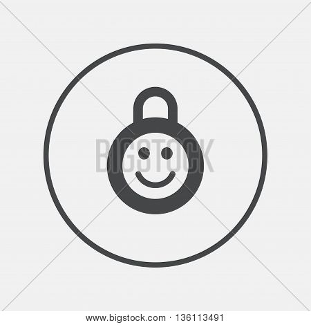 Child lock icon. Locker with smile symbol. Child protection. Round button with flat icon. Vector