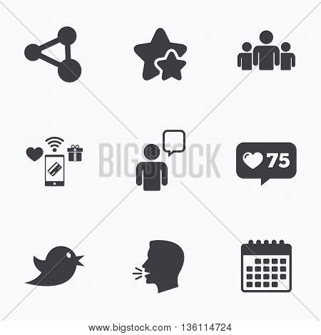 Group of people and share icons. Speech bubble symbols. Communication signs. Flat talking head, calendar icons. Stars, like counter icons. Vector