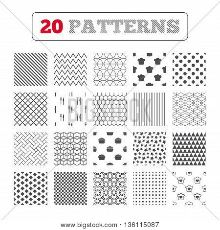 Ornament patterns, diagonal stripes and stars. Chief hat and cooking pan icons. Fork and knife signs. Boil or stew food symbols. Geometric textures. Vector
