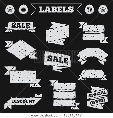 Stickers, tags and banners with grunge. Chief hat with heart and cooking pan icons. Crosswise fork and knife signs. Boil or stew food symbol. Sale or discount labels. Vector