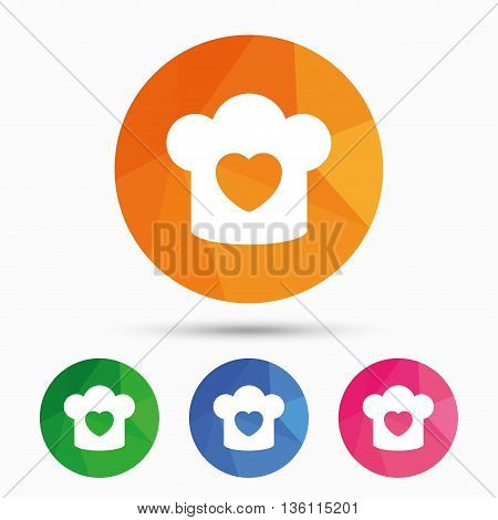 Chef hat sign icon. Cooking symbol. Cooks hat with heart love. Triangular low poly button with flat icon. Vector