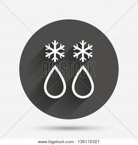 Defrosting sign icon. From ice to water symbol. Circle flat button with shadow. Vector