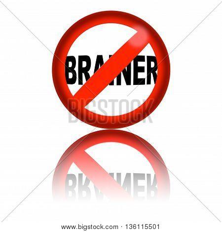 No Brainer Sign 3D Rendering