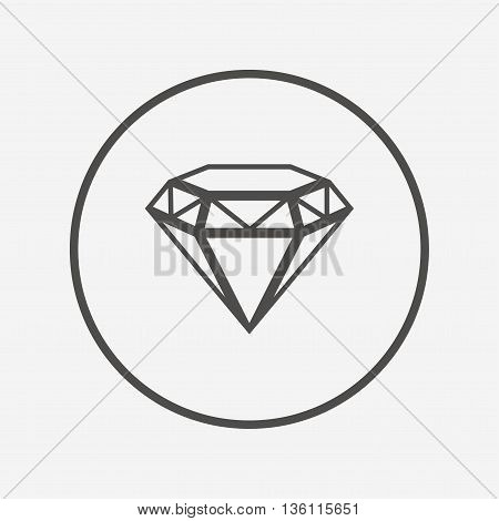 Diamond sign icon. Jewelry symbol. Gem stone. Flat brilliant icon. Simple design brilliant symbol. Brilliant graphic element. Round button with flat brilliant icon. Vector