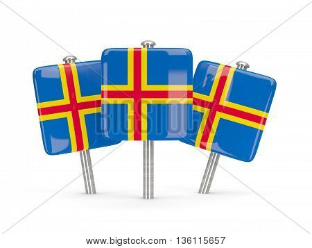 Flag Of Aland Islands, Three Square Pins