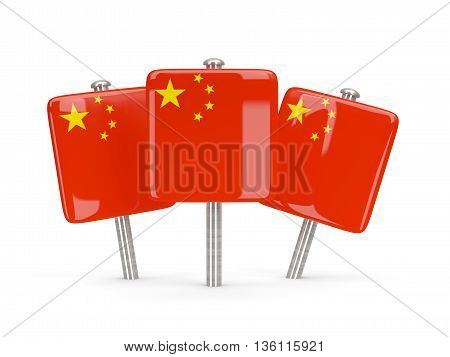 Flag Of China, Three Square Pins