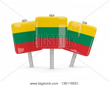 Flag Of Lithuania, Three Square Pins