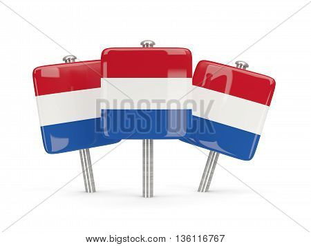 Flag Of Netherlands, Three Square Pins