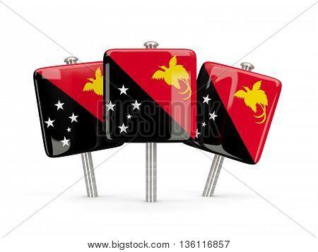Flag Of Papua New Guinea, Three Square Pins