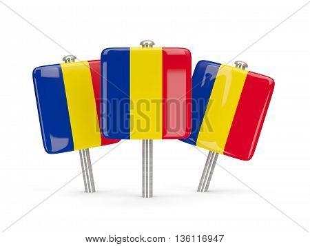 Flag Of Romania, Three Square Pins