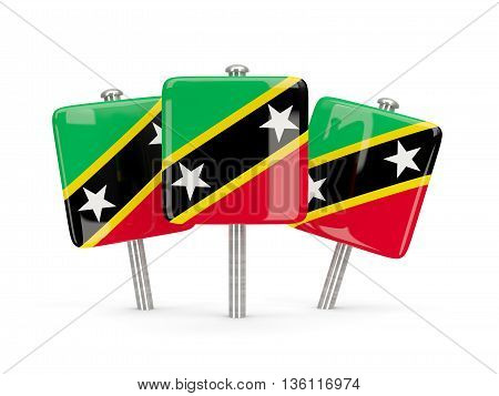 Flag Of Saint Kitts And Nevis, Three Square Pins